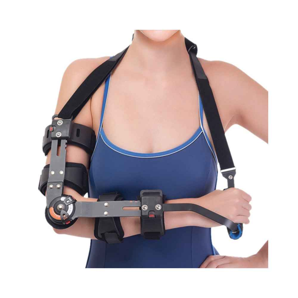 Τηλεσκοπικός λειτουργικός νάρθηκας αγκώνα με γωνιόμετρο ''Rom Orthosis''