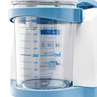Η αναρρόφηση New Askir 30 διαθέτει άθραυστη κλιβανιζόμενη φιάλη 1000 ml με βαλβίδα υπερχείλισης.