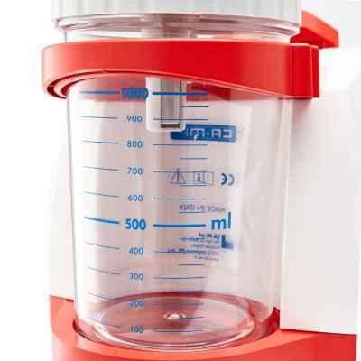 'Άθραυστη κλιβανιζόμενη φιάλη 1000 ml στους 120 °C με βαλβίδα υπερχείλισης.