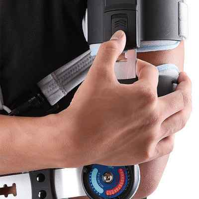 Νάρθηκας αγκώνα λειτουργικός με γωνιόμετρο AC-1085 με τηλεσκοπικό μηχανισμό για εύκολη ρύθμιση του μήκους