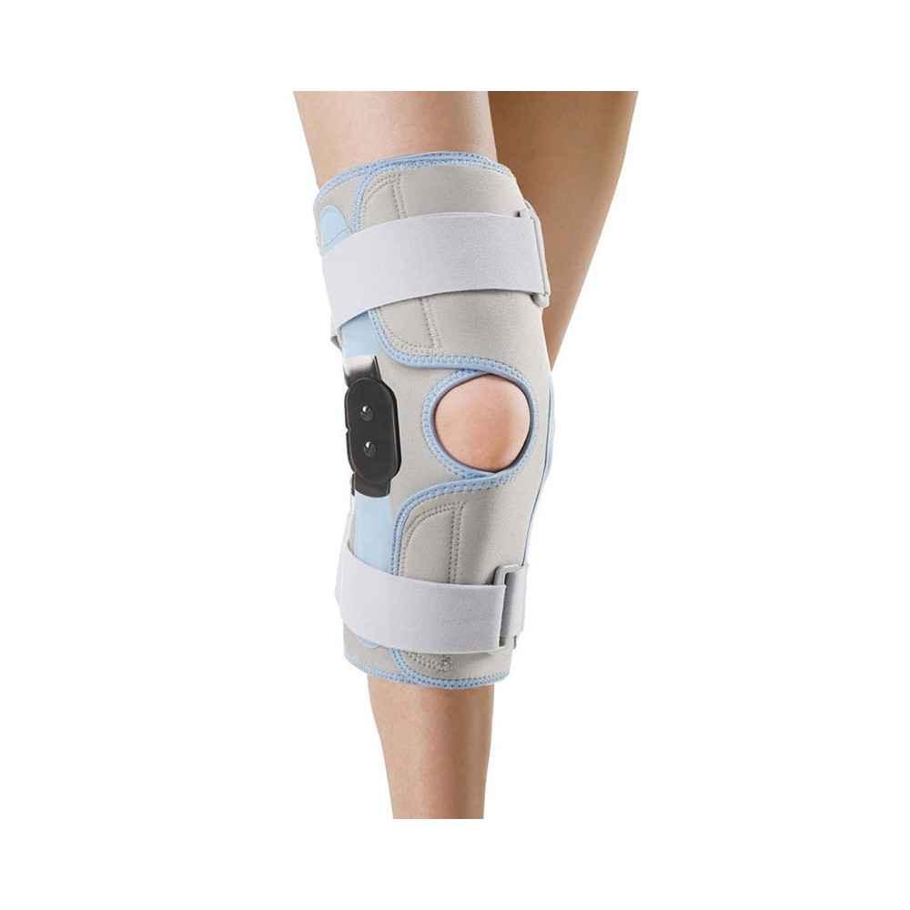 Ανοιγόμενη επιγονατίδα με μεταλλικές μπανέλες και άρθρωση για κακώσεις πλαγίων συνδέσμων γόνατος και μηνίσκων