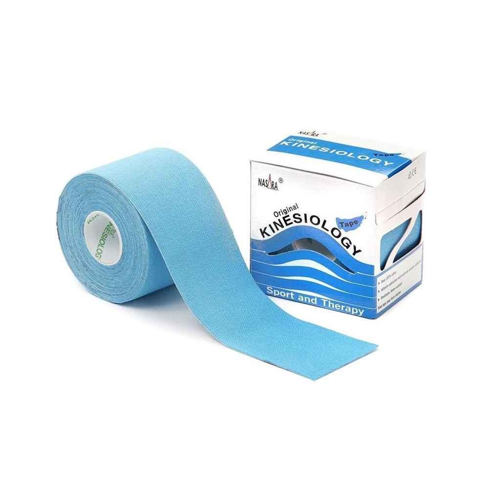 Επίδεση κινησιοθεραπείας Kinesiology tape Nasara® 5cm x 5m Γαλάζιο