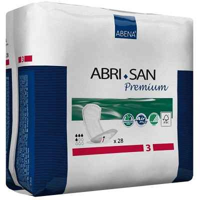 Οι σερβιέτες γυναικείας ακράτειας Abena Abri San Premium No3 Midi έχουν απορροφητικότητα 500 ml για ελαφρά ή μέτρια ακράτεια