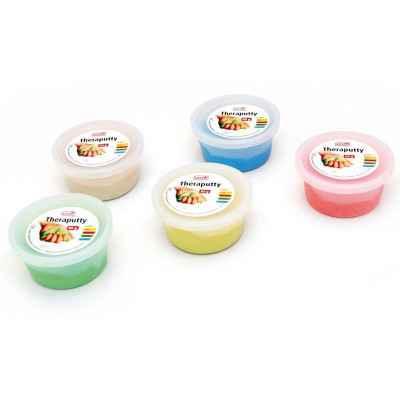 Η θεραπευτική πλαστελίνη Sissel Theraputty διατίθεται σε 5 χρώματα με διαφορετικές σκληρότητες