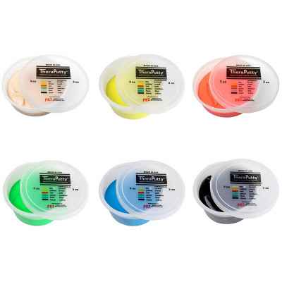 H θεραπευτική πλαστελίνη εξάσκησης CanDo® Theraputty διατίθεται σε 6 χρώματα με διαφορετικές σκληρότητες
