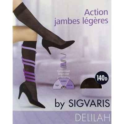 Κάλτσες κάτω γόνατος πρόληψης φλεβίτιδας Sigvaris Delilah 140 DEN Μαύρο