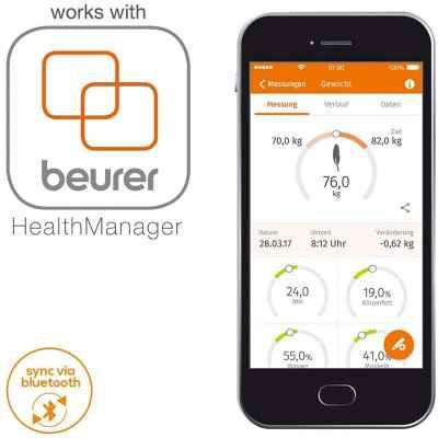 """Η διαγνωστική ζυγαριά μπάνιου Beurer BF 105 BT διαθέτει την ειδική εφαρμογή """"Beurer HealthManager"""""""